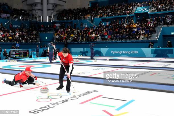 Becca Hamilton and Matt Hamilton of the United States look on against Olympic Athletes from Russia in the Curling Mixed Doubles Round Robin Session 1...