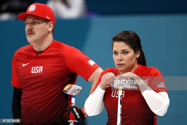Becca Hamilton and Matt Hamilton of the United States looks on in the Curling Mixed Doubles Round Robin Session 1 during the PyeongChang 2018 Winter...