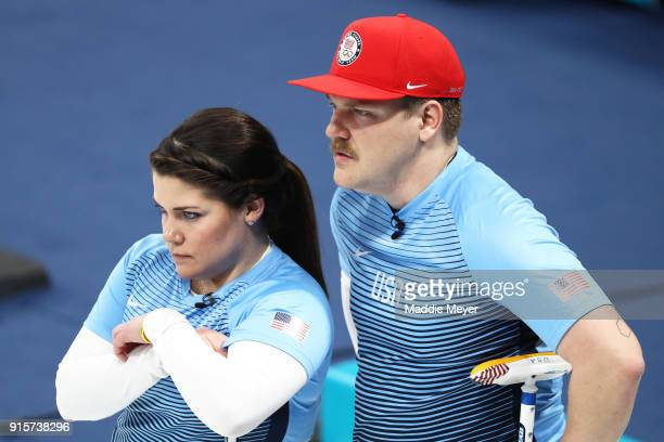 Becca Hamilton and Matt Hamilton of the United States of America look on during their game against Canada in the Curling Mixed Doubles Round Robin...