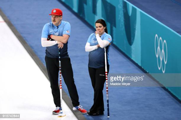 Becca Hamilton and Matt Hamilton of the United States of America look on in the Curling Mixed Doubles Round Robin Session 2 during the PyeongChang...