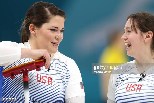 Becca Hamilton left talks with Aileen Geving of the United States of America during Women's Round Robin Session 1 on day five of the PyeongChang 2018...
