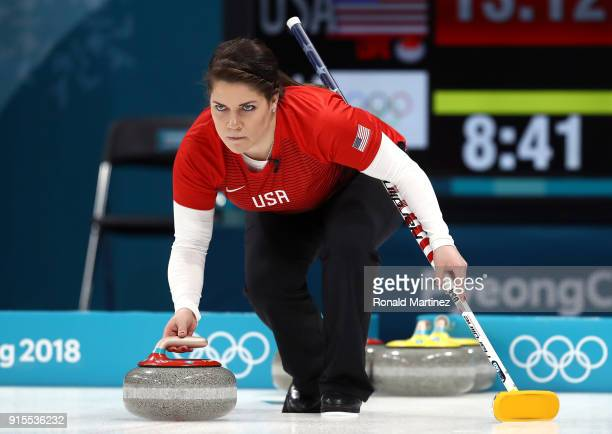 Becca Hamilton of the United States delivers a stone against Olympic Athletes from Russia in the Curling Mixed Doubles Round Robin Session 1 during...