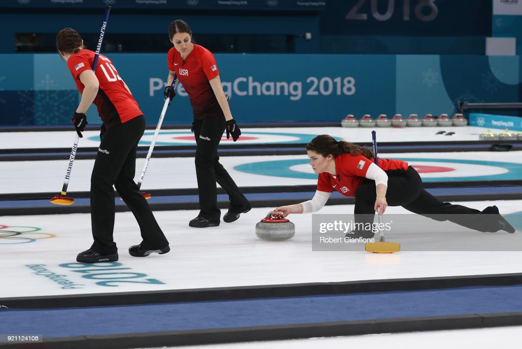 Becca Hamilton of the United States delivers a stone the Women's Round Robin Session 10 on day eleven of the PyeongChang 2018 Winter Olympic Games at Gangneung Curling Centre on February 20, 2018 in Gangneung, South Korea.