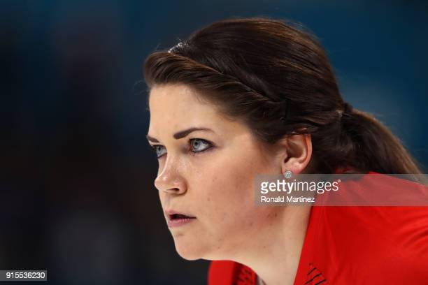 Becca Hamilton of the United States looks on against Olympic Athletes from Russia in the Curling Mixed Doubles Round Robin Session 1 during the...
