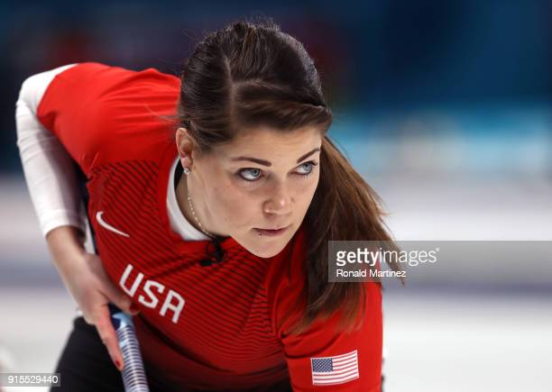 Becca Hamilton of the United States looks on in the Curling Mixed Doubles Round Robin Session 1 during the PyeongChang 2018 Winter Olympic Games at...