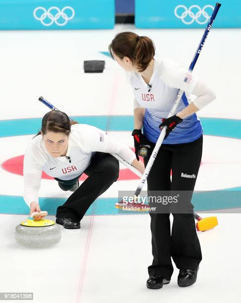Becca Hamilton of the United States of America casts a stone against Japan during Women's Round Robin Session 1 on day five of the PyeongChang 2018...