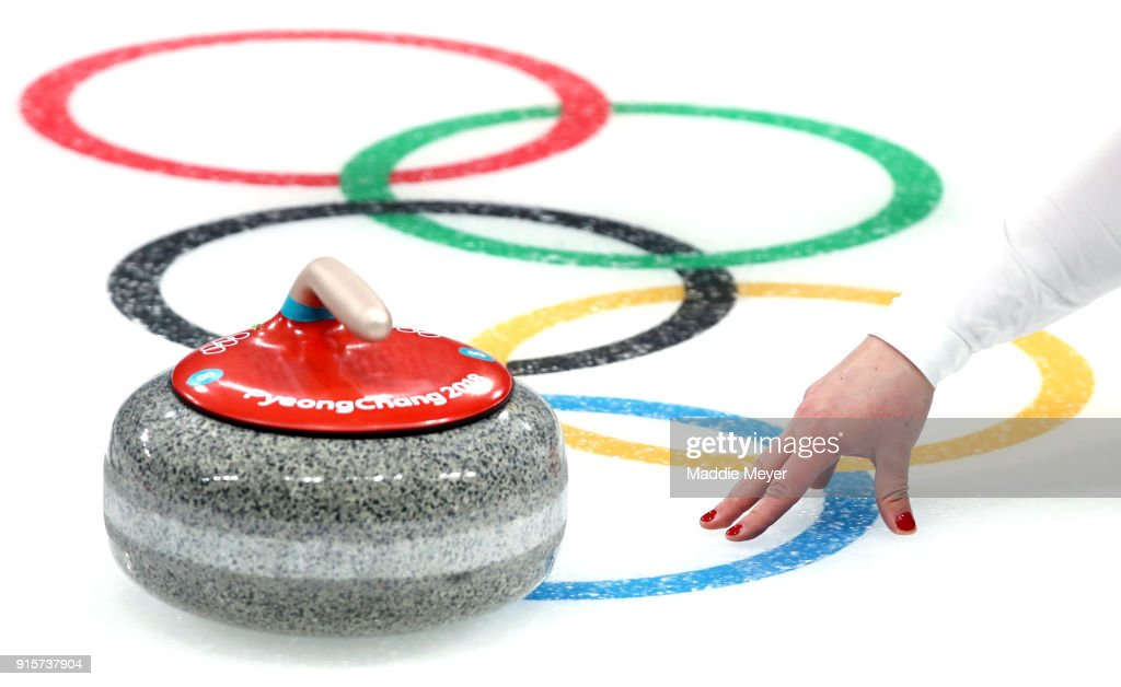 Becca Hamilton of the United States of America delivers a stone against Canada in the Curling Mixed Doubles Round Robin Session 2 during the PyeongChang 2018 Winter Olympic Games at Gangneung Curling Centre on February 8, 2018 in Gangneung, South Korea.