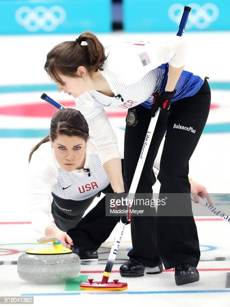 Becca Hamilton of the United States of America delivers a stone against Japan during Women's Round Robin Session 1 on day five of the PyeongChang...