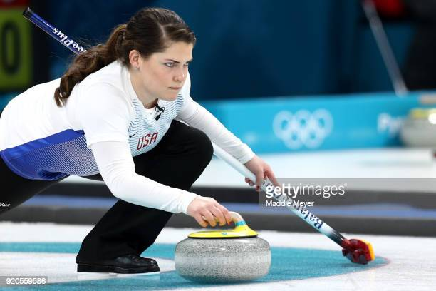 Becca Hamilton of the United States of America delivers a stone during Women's Round Robin Session 9 on day 10 of the PyeongChang 2018 Winter Olympic...