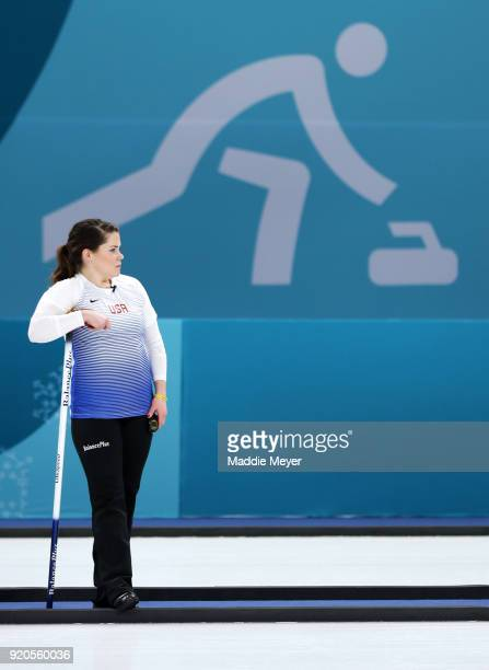 Becca Hamilton of the United States of America looks on during Women's Round Robin Session 9 on day 10 of the PyeongChang 2018 Winter Olympic Games...