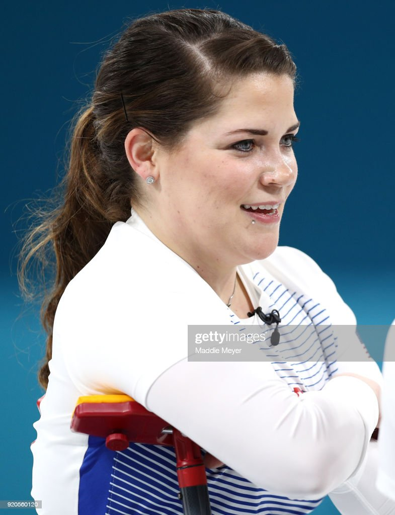 Becca Hamilton of the United States of America looks on during Women's Round Robin Session 9 on day 10 of the PyeongChang 2018 Winter Olympic Games at Gangneung Curling Centre on February 19, 2018 in Pyeongchang-gun, South Korea.