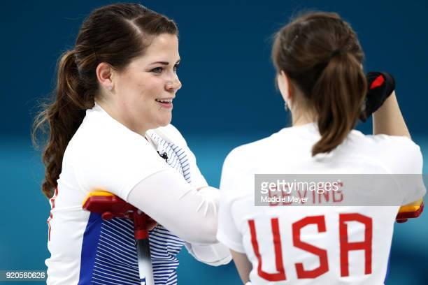 Becca Hamilton of the United States of America talks with Aileen Geving during Women's Round Robin Session 9 on day 10 of the PyeongChang 2018 Winter...
