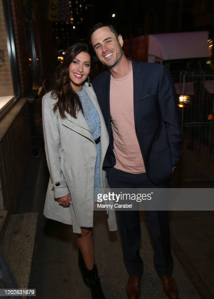 Becca Kufrin and Ben Higgins attend Kendra Scott Celebrates Valentine's Day with Bachelor Live On Stage hosted by Ben Higgins and Becca Kufrin at...