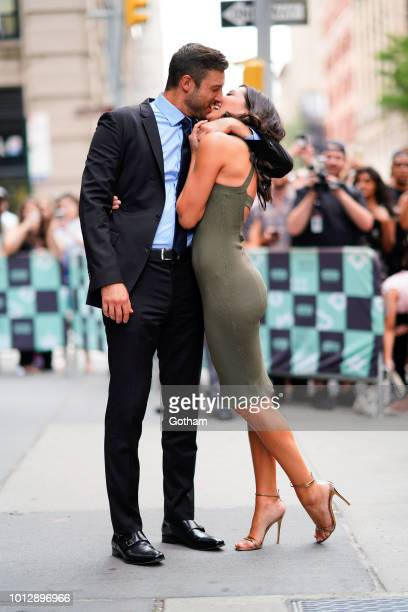 Becca Kufrin and Garrett Yrigoyen are seen at AOL BUild on August 7 2018 in New York City
