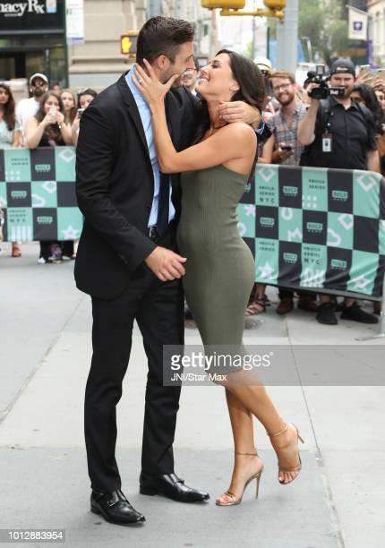 Becca Kufrin and Garrett Yrigoyen are seen on August 7, 2018 in New York City.