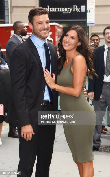 Becca Kufrin and Garrett Yrigoyen are seen on August 7 2018 in New York City