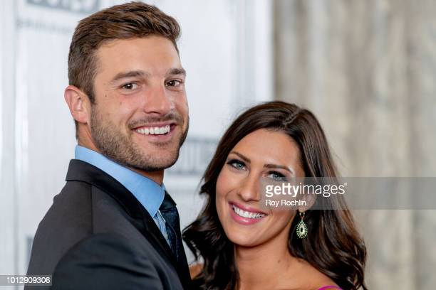 Becca Kufrin and Garrett Yrigoyen discuss The Bachelorette season finale with the Build Series at Build Studio on August 7 2018 in New York City