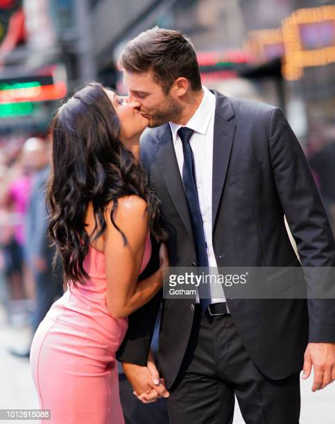 Becca Kufrin and Garrett Yrigoyen on August 7 2018 in New York City