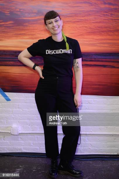Becca McCharenTran poses backstage for Chromat AW18 during New York Fashion Week at Industria Studios on February 9 2018 in New York City