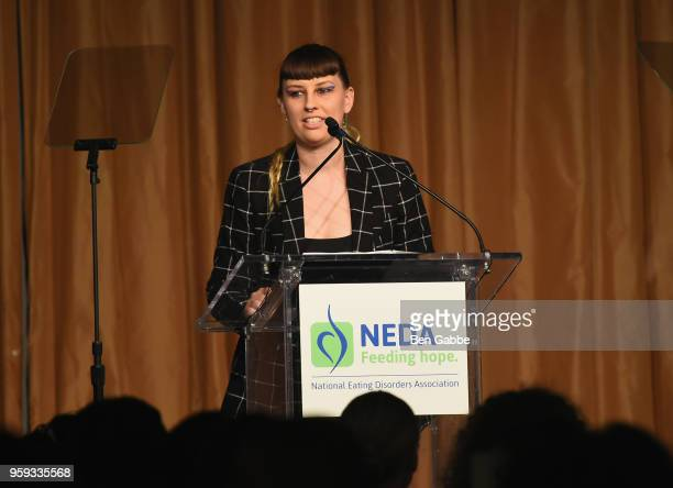 Becca McCharenTran speaks onstage during the National Eating Disorders Association Annual Gala 2018 at The Pierre Hotel on May 16 2018 in New York...
