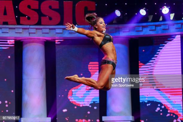 Becca Sizemore competes in Fitness International as part of the Arnold Sports Festival on March 2 at the Greater Columbus Convention Center in...