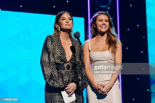 Becca Tilley and Caelynn MillerKeyes speak onstage during the 2nd Annual American Influencer Awards at Dolby Theatre on November 18 2019 in Hollywood...