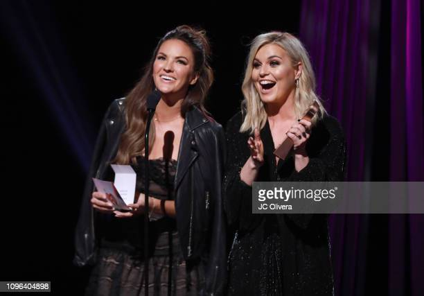 Becca Tilley and Tanya Rad speak onstage during the 2019 iHeartRadio Podcast Awards Presented By Capital One at iHeartRadio Theater on January 18...