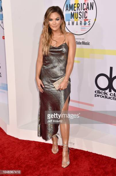 Becca Tilley attends the 2018 American Music Awards at Microsoft Theater on October 9 2018 in Los Angeles California