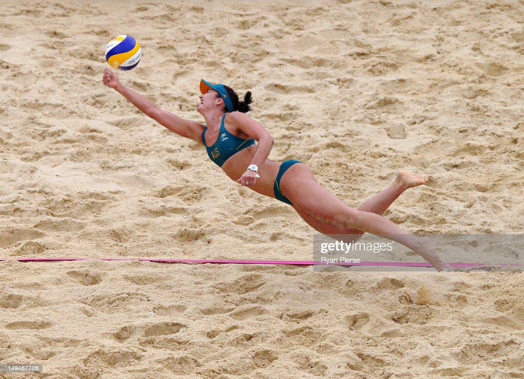 Becchara Palmer of Australia dives for the ball during Women's Beach Volleyball Preliminary match between Germany and Australia on Day 2 of the London 2012 Olympic Games at Horse Guards Parade on July 29, 2012 in London, England.