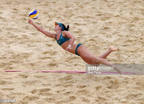 Becchara Palmer of Australia dives for the ball during Women's Beach Volleyball Preliminary match between Germany and Australia on Day 2 of the...