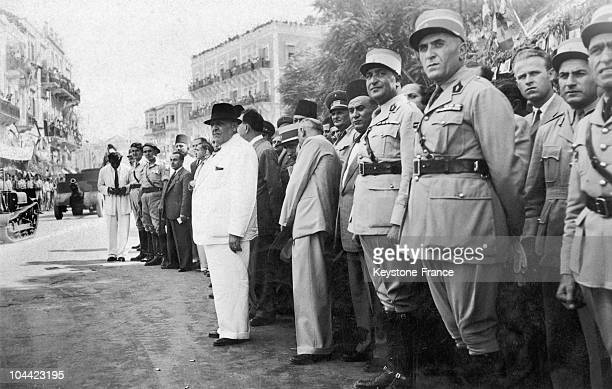 Bechara El Khoury The Army Chief And President Of Lebanon Since 1943 Inspecting Troops In Tripoli Northern Lebanon Around 19431950