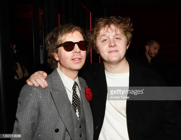 Beck and Lewis Capaldi attend the Universal Music Group's 2020 Grammy after party presented by Lenovo at Rolling Greens Nursery on January 26 2020 in...