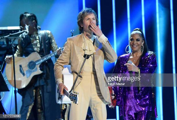 """Beck and Sheila E. Perform onstage during the 62nd Annual GRAMMY Awards """"Let's Go Crazy"""" The GRAMMY Salute To Prince on January 28, 2020 in Los..."""