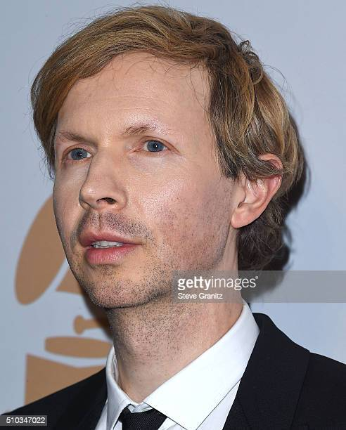 Beck arrives at the 2016 PreGRAMMY Gala And Salute to Industry Icons Honoring Irving Azoff at The Beverly Hilton Hotel on February 14 2016 in Beverly...