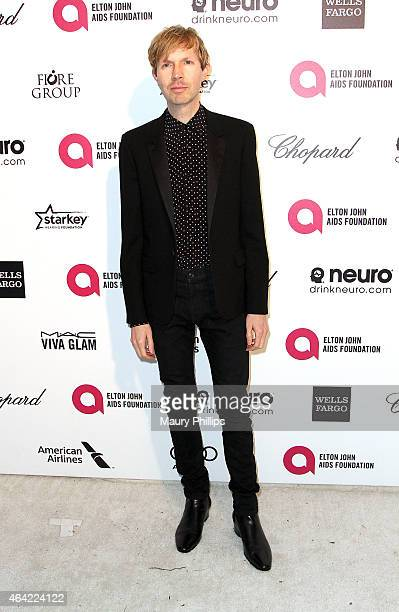 Beck arrives at the 23rd Annual Elton John AIDS Foundation Academy Awards Viewing Party at The City of West Hollywood Park on February 22 2015 in...