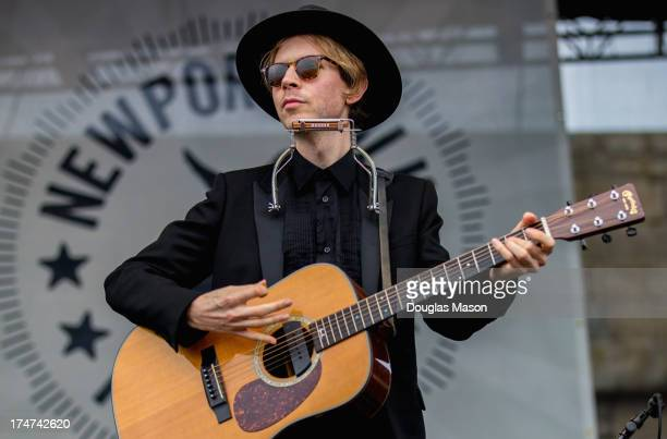Beck performs during the 2013 Newport Folk Festival at Fort Adams State Park on July 28 2013 in Newport Rhode Island