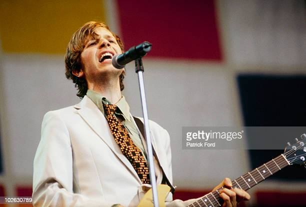 Beck performs on stage at the V Festival in Chelmsford, Essex on August 17, 1997.