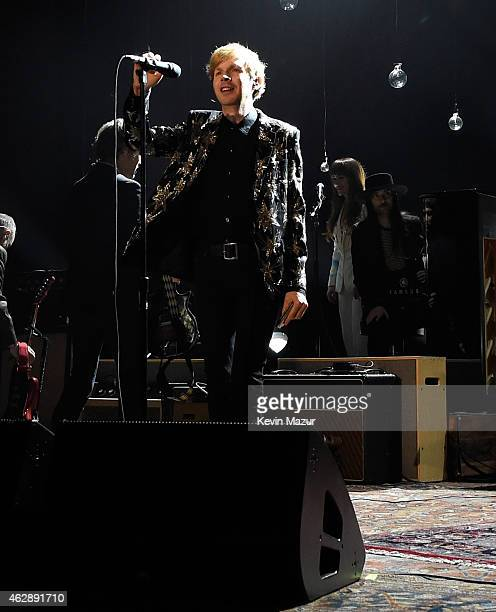 Beck performs onstage at the 25th anniversary MusiCares 2015 Person Of The Year Gala honoring Bob Dylan at the Los Angeles Convention Center on...