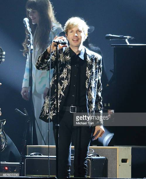 Beck performs onstage during the 2015 MusiCares Person of The Year honoring Bob Dylan held at Los Angeles Convention Center on February 6 2015 in Los...
