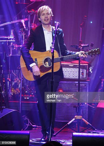 Beck performs onstage during the 2016 PreGRAMMY Gala and Salute to Industry Icons held at The Beverly Hilton Hotel on February 14 2016 in Beverly...