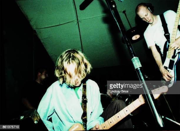 Beck performs with Chris Bellew at Jabberjaw coffeehouse on Pico Boulevard on May 24 1994 in Los Angeles California