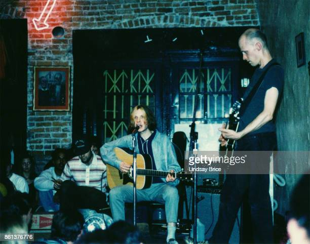 Beck performs with Chris Bellew on bass percussion on plastic water jug at Troy Cafe in Little Tokyo venue coowned by Beck's mother Bibi Hansen to...