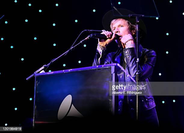 Beck speaks onstage during the PreGRAMMY Gala and GRAMMY Salute to Industry Icons Honoring Sean Diddy Combs on January 25 2020 in Beverly Hills...