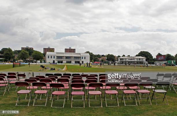 Beckenham, ENGLAND - JULY 09 General view of the ground during the Kent Spitfires v Essex Eagles - NatWest T20 Blast cricket match at the County...