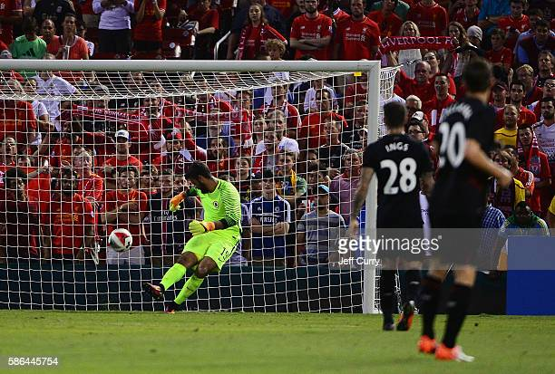 Becker Alisson clears the ball against Liverpool FC during a friendly match at Busch Stadium on August 1 2016 in St Louis Missouri AC Roma won 21