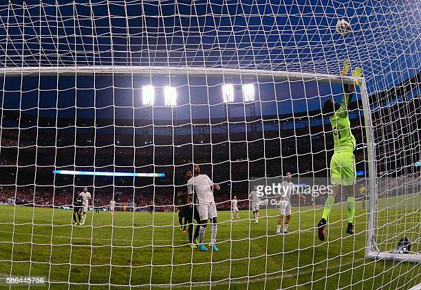 Becker Alisson makes a save against Liverpool FC during a friendly match at Busch Stadium on August 1 2016 in St Louis Missouri AC Roma won 21