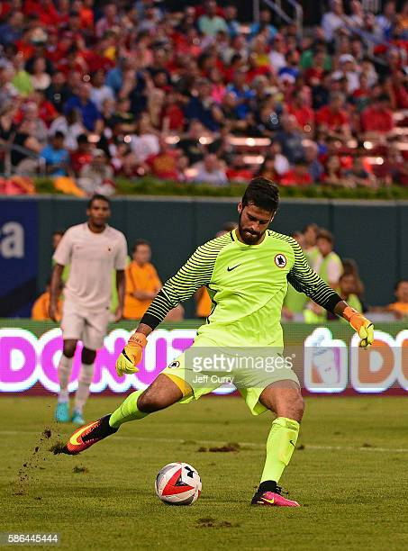 Becker Alisson of AS Roma clears the ball during a friendly match against Liverpool FC at Busch Stadium on August 1 2016 in St Louis Missouri AC Roma...