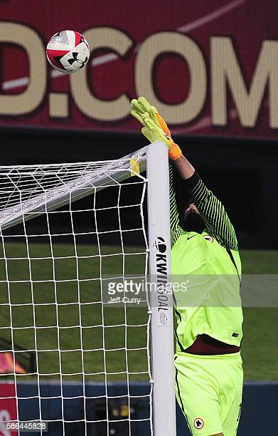 Becker Alisson of AS Roma makes a save against Liverpool FC during a friendly match at Busch Stadium on August 1 2016 in St Louis Missouri AC Roma...