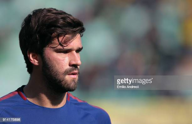 Becker Allison of AS Roma looks on prior to the serie A match between Hellas Verona FC and AS Roma at Stadio Marc'Antonio Bentegodi on February 4...