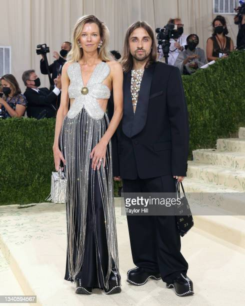 """Beckett Fogg and Piotrek Panszczyk of AREA attend the 2021 Met Gala benefit """"In America: A Lexicon of Fashion"""" at Metropolitan Museum of Art on..."""